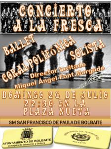 Cartel Concierto a la fresca SM S Fco de Paula - Bolbaite 260715