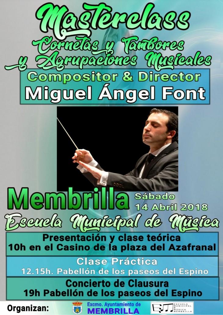 Cartel masterclas Miguel angel font membrilla 2018